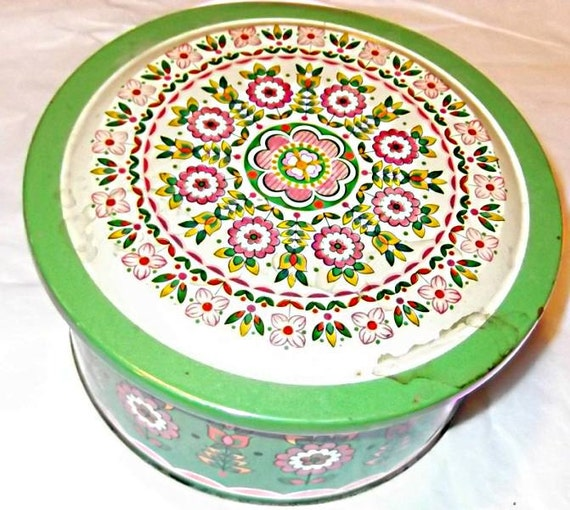 70s Vintage Green & Pink Round Flower Tin Box, Canister, Filled with Destash, Sewing, Crafting Supplies, Fabric,Hanky,Buttons