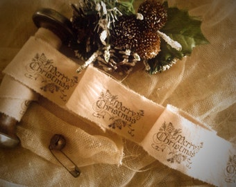Merry Christmas Hand Stamped Trim - Distressed - Narrow Hand Stamped Ribbon - Includes Rusty Pin & Bell -  Tag