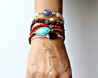 Gemstone Bracelet Onyx Jasper Turquoise Pink Smokey Quartz Moonstone Coral Labradorite Garnet Sterling Silver Elastic Stacking Bracelets