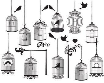 Bird cage clipart - vintage birdcages clip art elegant ornate flourish digital cages birds whimsical for collage and scrapbooking wedding