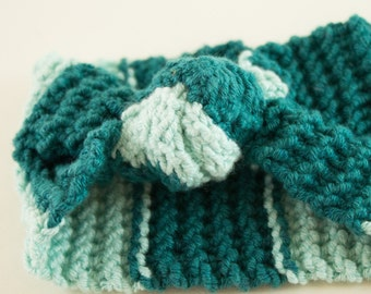 Knotted Green Blue Headband