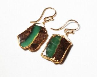 Green Chrysoprase Earrings Green Chrysoprase Earring Chrysoprase Jewelry Raw Stone Earrings Rare Stone Earrings BC-Chry-E-101B-001g