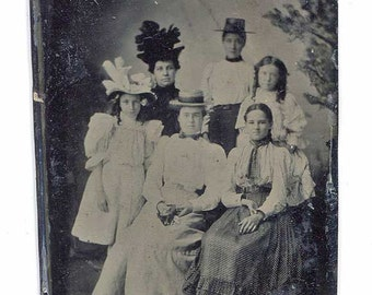 Antique Victorian Tintype, Group of 6 Women, Victorian Clothing, Fancy Hats