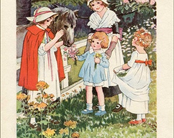 Vintage 1930's Children with Their Brown Pony by the Fence Illustration Print, Pretty Brown Pony, Edwardian Children