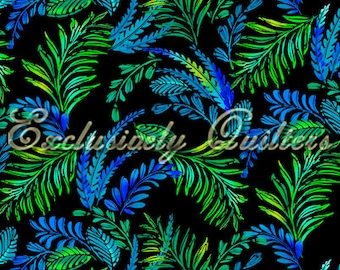 Leaves Mystic Topaz Blue Green Exclusively Quilters Fabric 1 yard