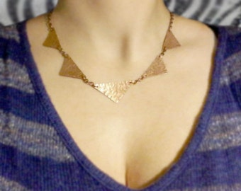 Copper Necklace Triangles Hand Cut from Eco-friendly Reclaimed Metal, Handmade Jewelry