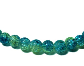 6mm Crackle glass round beads blue and yellow 35 beads
