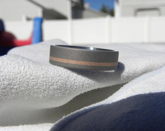 Titanium Ring with Rose Gold Offset Stripe Inlay, Wedding Band, Sandblasted