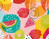 Summertime Archival Art Print a brightly coloured summer fruit pattern