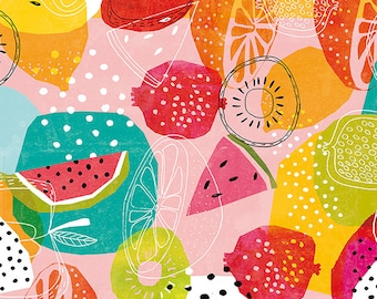 SALE Summertime Archival Wall Art Print brightly coloured summer fruit pattern