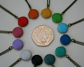 Tiny Locket Necklace, Coloured Locket Necklace
