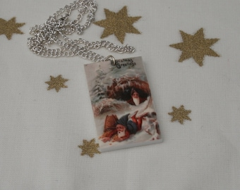 Christmas Elves Necklace, Vintage Christmas Illustration Necklace