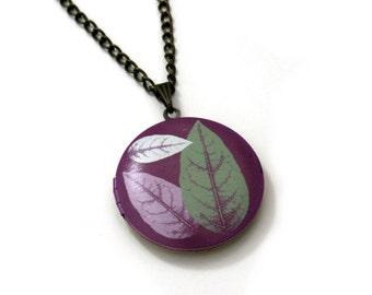 Leaves Locket Necklace, Leaf Necklace, Woodland