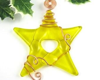 Christmas Ornament - Yellow Glass Star Ornament Suncatcher -  Fused Glass Star Ornament