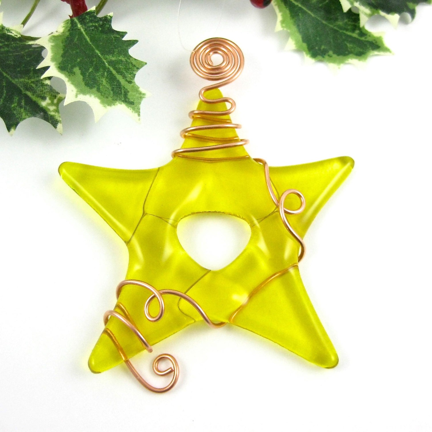Christmas ornament yellow glass star by dpholkdesigns
