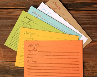 Letterpress Recipe Cards-42 Pack w/ Dividers
