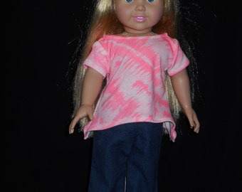 18 inch Doll Blue Jeans and Pink T Shirt