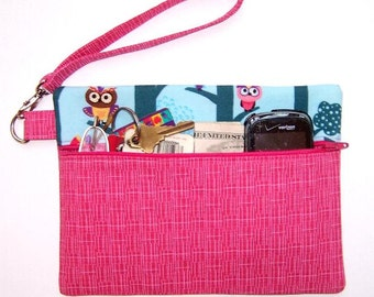 Pink Owls Wristlet, Turquoise Clutch, Purple Owls Wallet, Zippered Makeup Bag, Coin Purse, Gadget Bag, Phone and Camera Holder, Small Purse