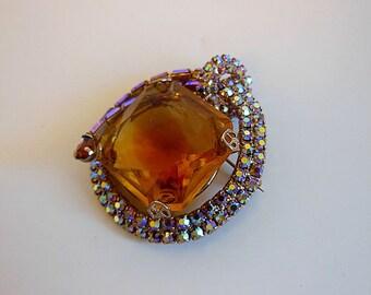 50s brooch / Big Vintage 1950s 3D Rhinestone Pin Brooch