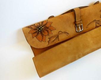 1920s manuscript roll / Pyrography  Poinsettia Vintage 20's Manuscript Art Roll Holder Bag