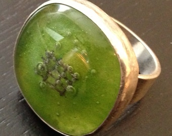 Glass ring, Chartreuse Fused Glass Ring size 8