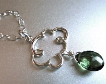 Cloud Necklace, Rain Necklace, Rain Cloud Charm Necklace in Green Tourmaline Teardrop, Gemstone Pendant, drop necklace, raindrop