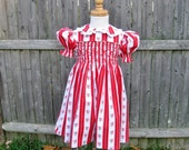 Red and white, smocked dress, toddler, size 2T, shabby red roses, hearts, floral stripe, ready to ship, OOAK, handmade, Valentines Day