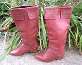 These Boots are made for Walkin - Vintage 70s 80s Chestnut Brown Tall Leather Heeled Studded Boots / Sz 5