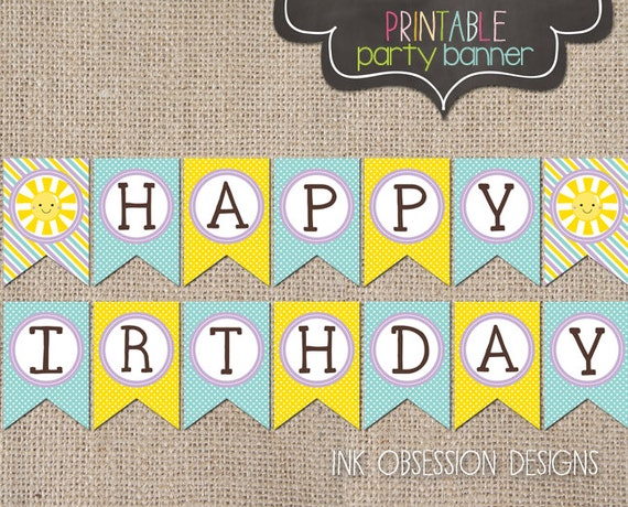 sunshine happy birthday banner instant by inkobsessiondesigns