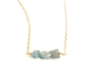 Raw Aquamarine Necklace, Gemstone Necklace, Layering Necklace, Aquamarine Necklace, Layer Necklace, Aquamarine Jewelry, March Birthstone