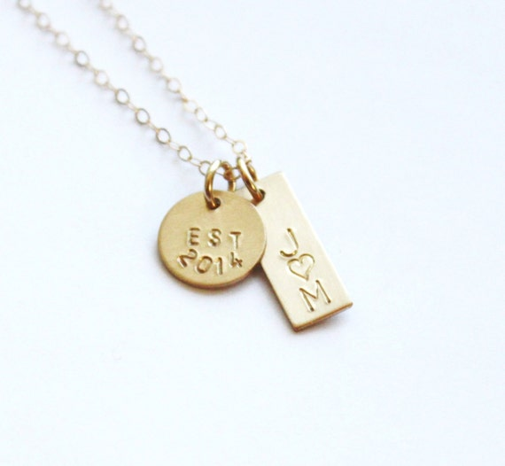 Personalized Gold Necklace/ Danity Gold Couples by ...