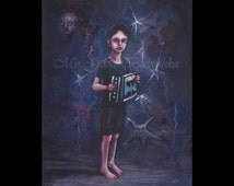 Blue John, Boy with Accordion, Toy Accordion, Night Music, Surreal, Child Portrait, Red Moon, Stars, Boy in Blue, Purple, Blue, Red,