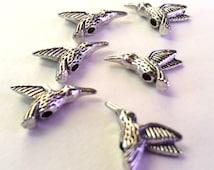 Set of 6 Pewter Hummingbird Beads