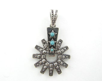 Antique Silver-tone Spur with Cut-out Pendant with Acrylic Turquoise Cabochons