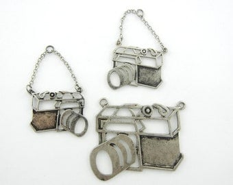 Set of Antique Silver-tone Cut-out Camera Pendant and Charms on Chain