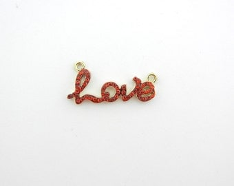 Gold-tone Red Rhinestone Love Word Pendant Double Link