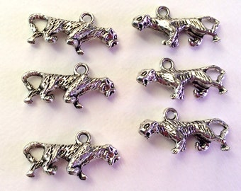 Set of 6 Pewter Tiger Charms