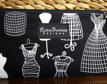 Black White Dress Form  Print Cotton Fabric Wristlet Zipper Pouch Clutch with pink flower linning