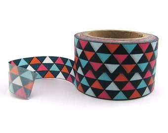 Washi Tape - Colourful Geometric Triangles - 15mm x 10 metres - High Quality Masking Tape