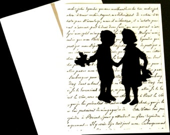 Handmade Valentines Card Vintage Children Silhouettes with Flowers Boy & Girl Young Love Wedding Anytime Card Blank Inside