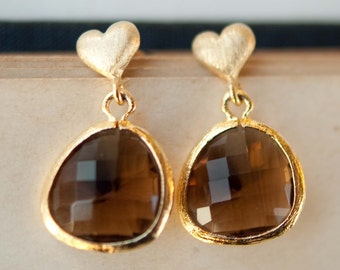Gold Heart Earrings With Smoky Quartz Glass Drops