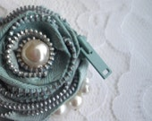 Blue Unique Gift For Her Handmade Brooch Pin Statement Zipper Brooch With Pearl AccentS by HANDCRAFTUSA