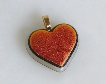 Dichroic Fused Glass Heart Pendant
