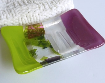 Fused Glass Soap Dish in Plum and Spring Green by BPRDesigns