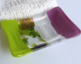 Fused Glass Soap Dish in Plum and Spring Green