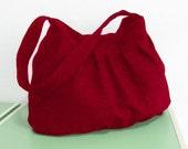 Sale - Deep Red Hemp/Cotton Bag - Shoulder bag, Diaper bag, Messenger bag, Tote, Travel bag, Women, Purse - Jill
