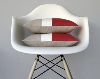 MARSALA Color Block Pillow Cover (Set of 2) Modern Home Decor by JillianReneDecor | Minimal | Linen Colorblock Pillow | 2015 Pantone