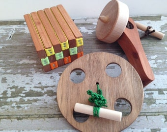 Folk Toy Collection - Handcrafted Wooden Folk Toy Collection Includes Top, Jacob's Ladder and Spinning Wheel