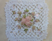 White Bouillion Hand Embroidered Crocheted Applique Beaded w Sequins Bridal Baby Pillow