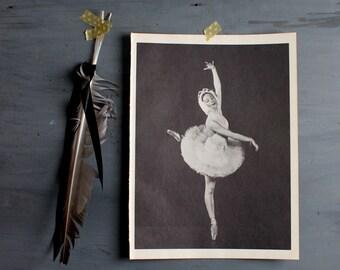 Vintage Ballerina Print, Vintage Ballet Print Dance Photograph Ballet, Alicia Markova in Swan Lake